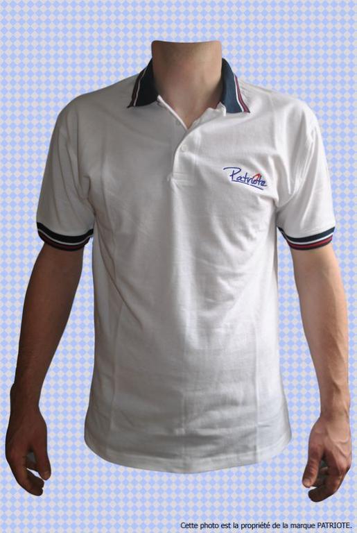 Polo Français Patriote Original blanc homme